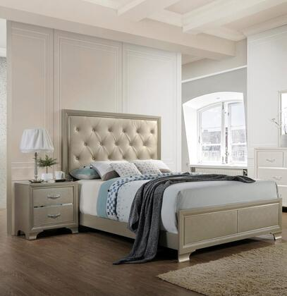 Dawson Collection DA515KN 2-Piece Bedroom Set with King Bed and Nightstand in Champagne