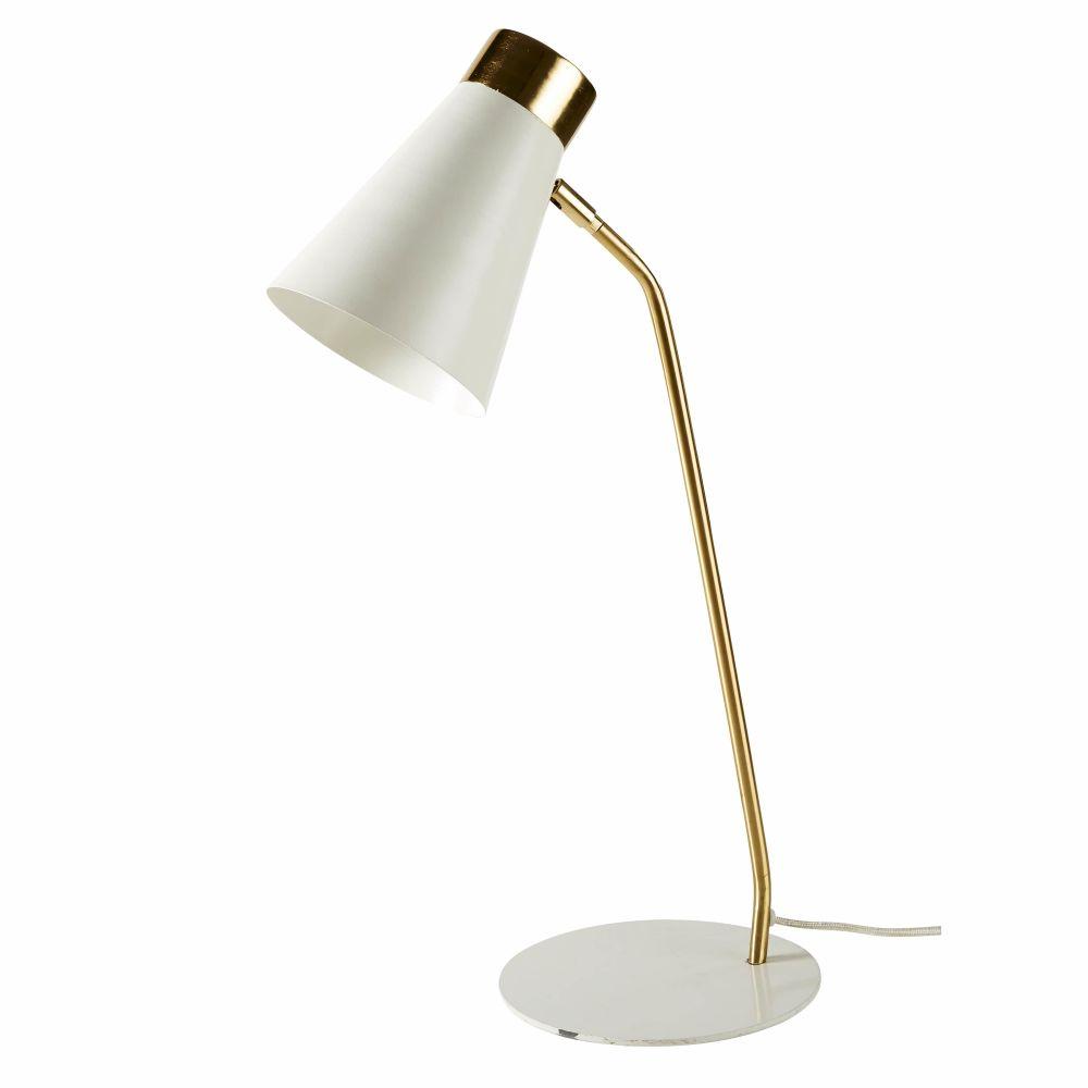 Lampe aus Metall, weiss und goldfarben