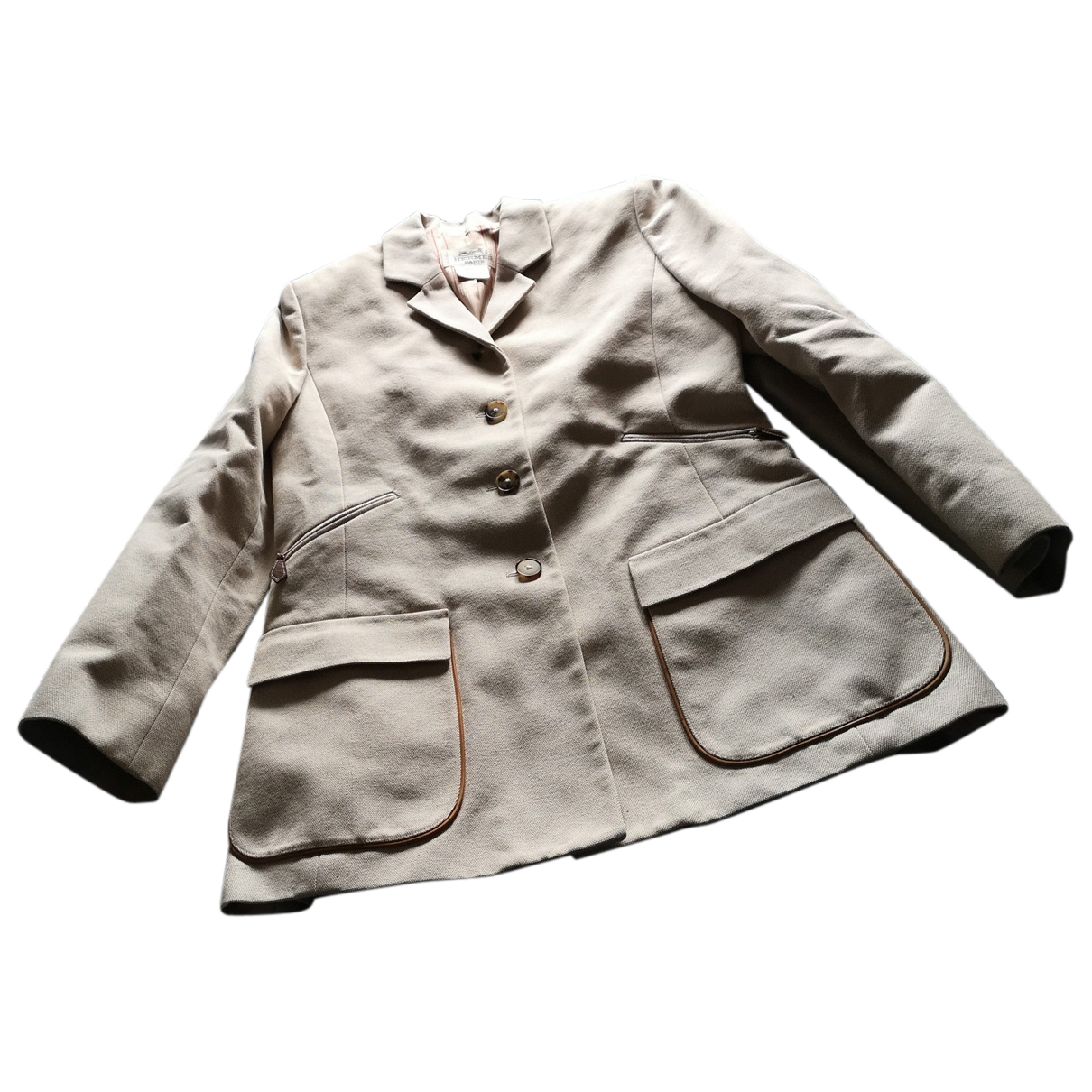 Hermes - Veste   pour femme en coton - beige