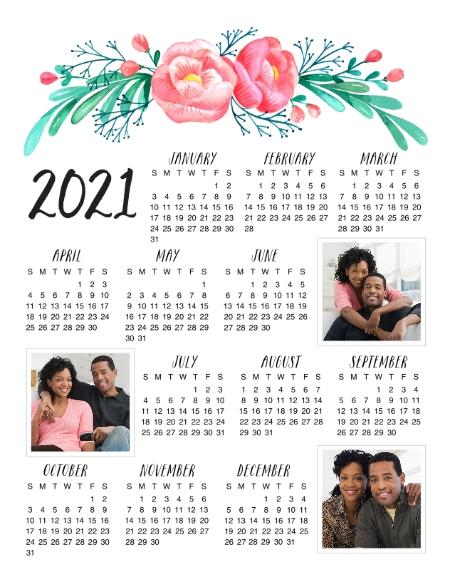 Calendar 11x14 Metal Panels, Home Décor -2021 Floral Calendar