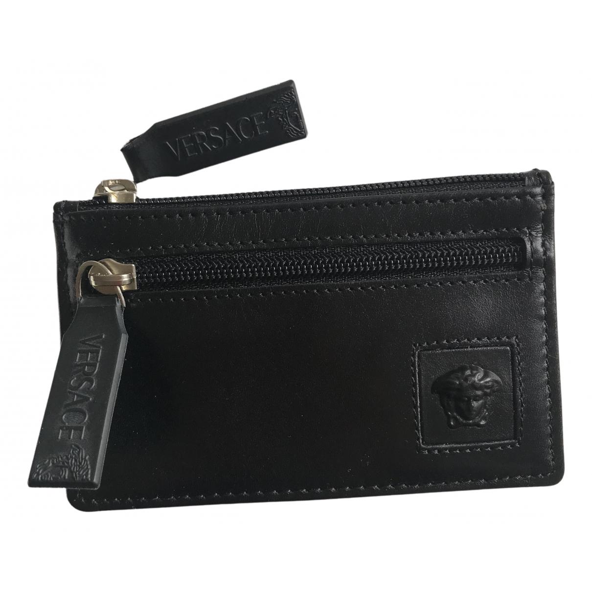 Versace - Petite maroquinerie   pour femme en cuir - noir