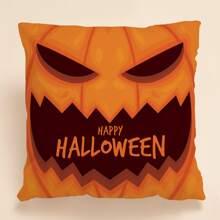 Halloween Pumpkin Print Cushion Cover Without Filler