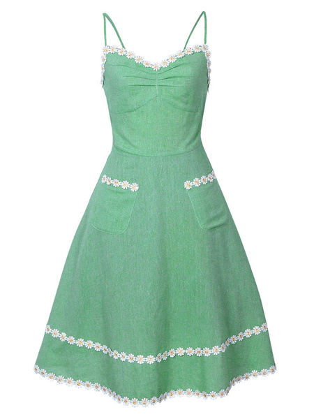 Milanoo Green Vintage Dress Sleeveless Straps Flowers Applique A Line Dresses For Women