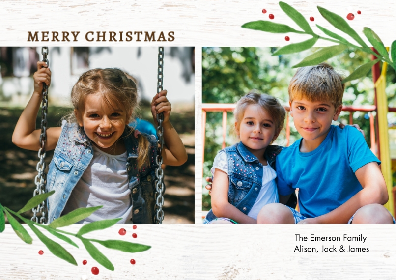 Christmas Photo Cards 5x7 Cards, Standard Cardstock 85lb, Card & Stationery -Christmas Simple Leaves