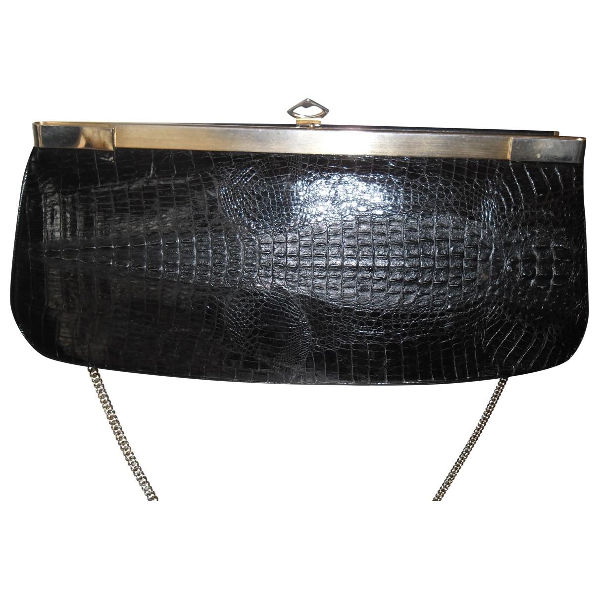 - Pochette   pour femme en crocodile - noir