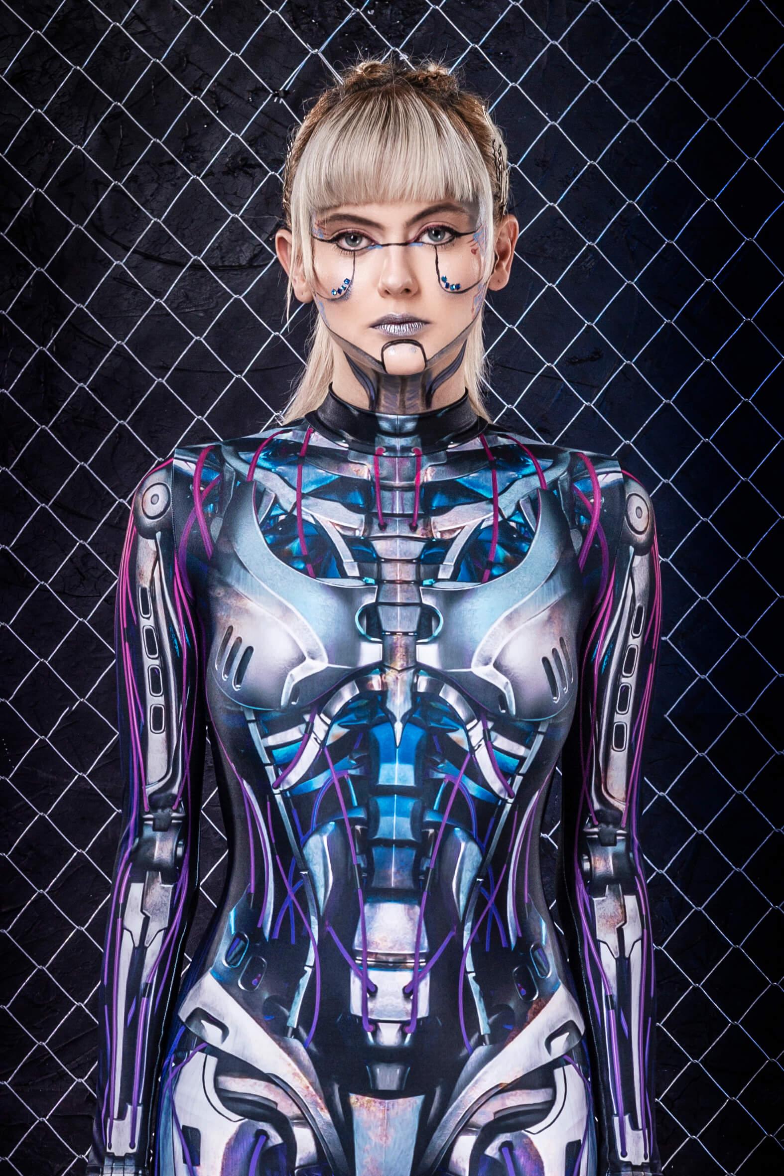 Halloween Costumes Women 2019 - Sexy Robot Woman Halloween Costumes - Blue Glow in the Dark Costume Adult