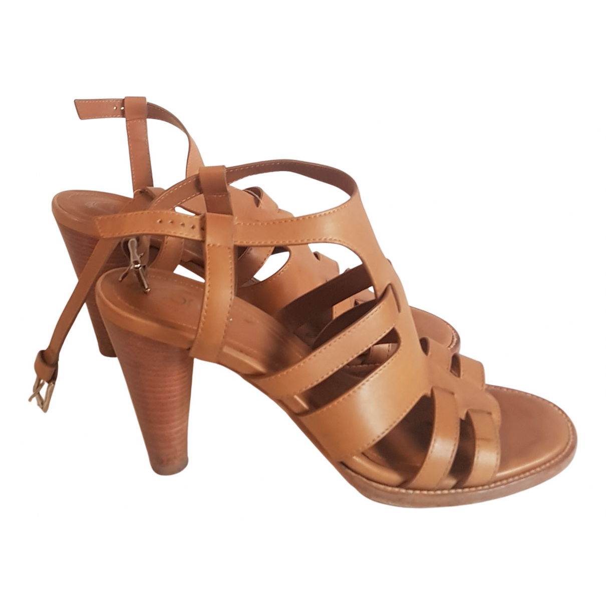 Tod's N Camel Leather Sandals for Women 38.5 IT