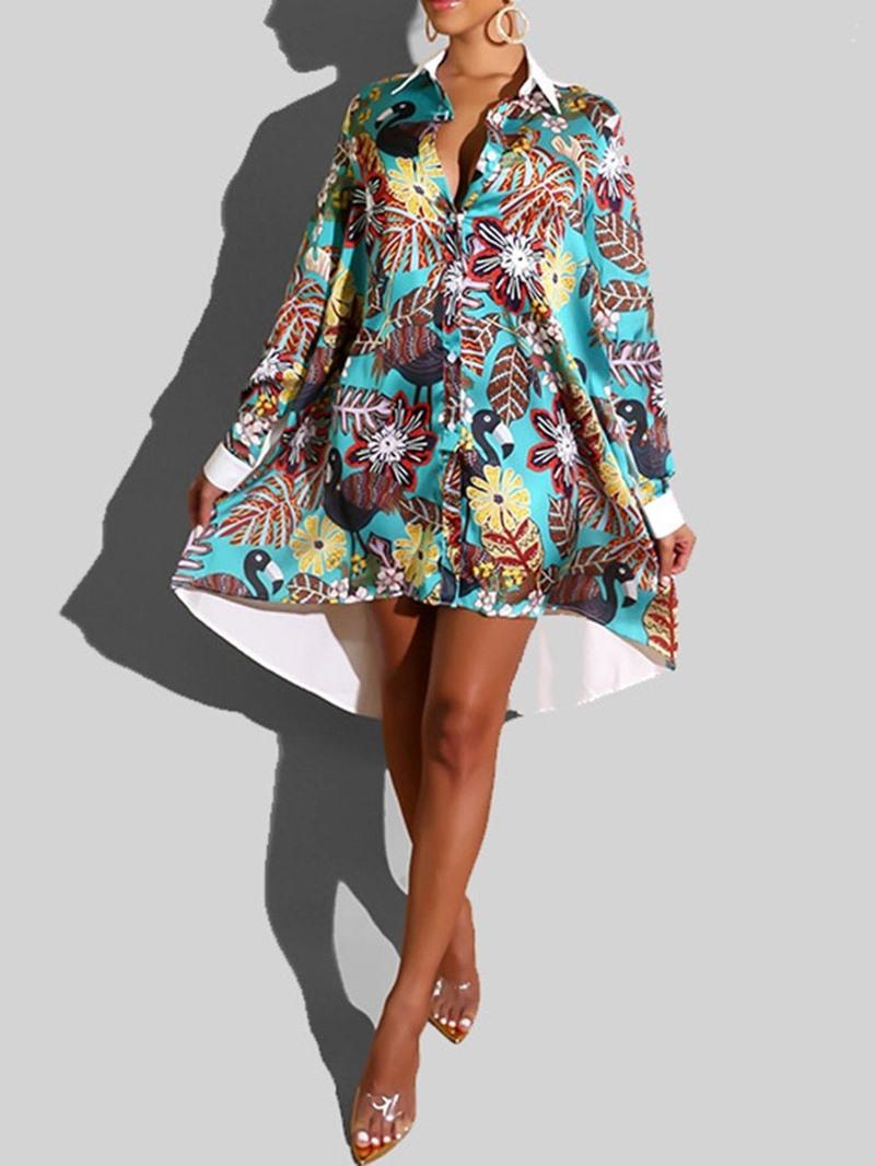 Ericdress Long Sleeve Print Mid-Calf High Waist Plant Dress