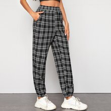 Slant Pocket Tartan Carrot Pants