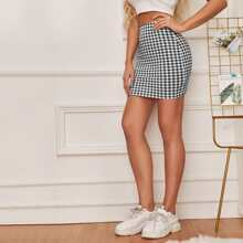 Gingham Bodycon Mini Skirt