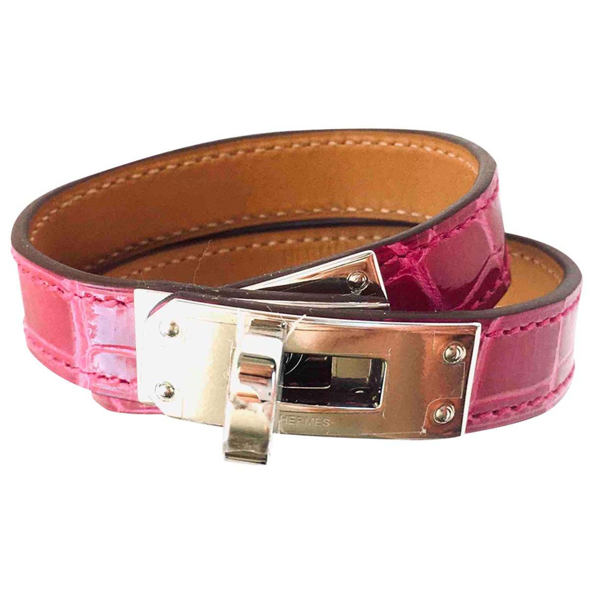 Hermes - Bracelet   pour femme en alligator - rose
