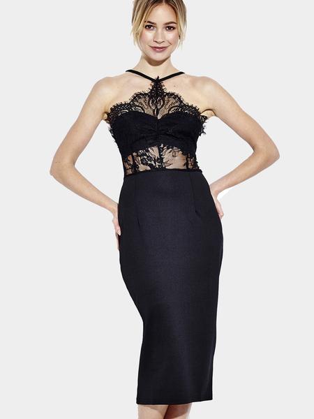 Yoins Sleeveless Cami Midi Dress with Lace Insert