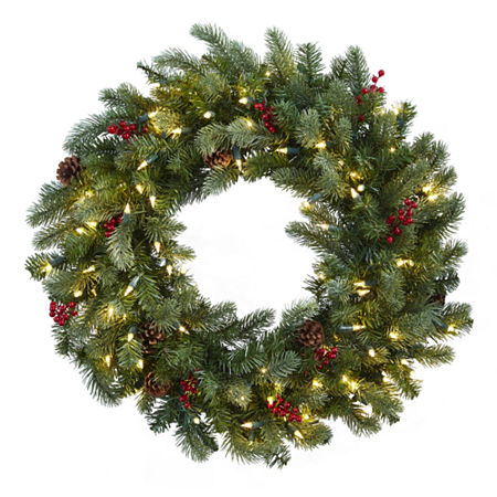 Nearly Natural 30in Lighted Indoor Christmas Wreath, One Size , Green