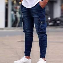 Men Flap Pocket Zipper Detail Jeans