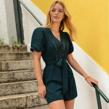 Guipure Lace Insert Puff Sleeve Belted Romper