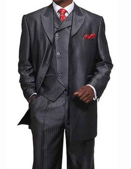 Men's Shiny Gray Full Cut 3 Piece Peak Long Jacket Double Vest Suit
