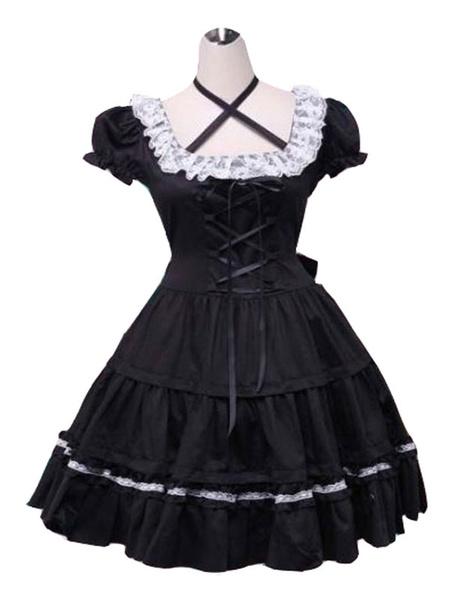 Milanoo Vestido clasico de Lolita OP Volantes de encaje de encaje Vestidos de una pieza de Lolita