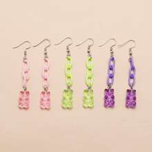 3pairs Bear Charm Drop Earrings