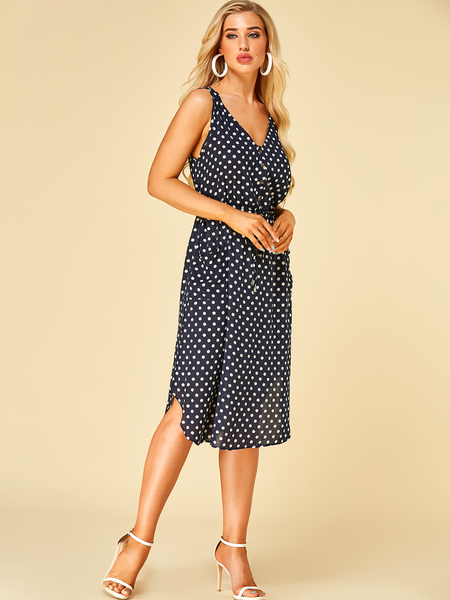 Yoins Navy Polka Dot Front Button V-neck Drawstring Waist Dress