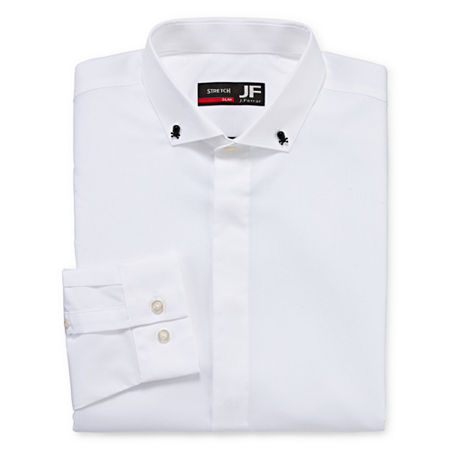 JF J.Ferrar Easy Care Mens Point Collar Long Sleeve Stretch Dress Shirt, 16-16.5 32-33, White