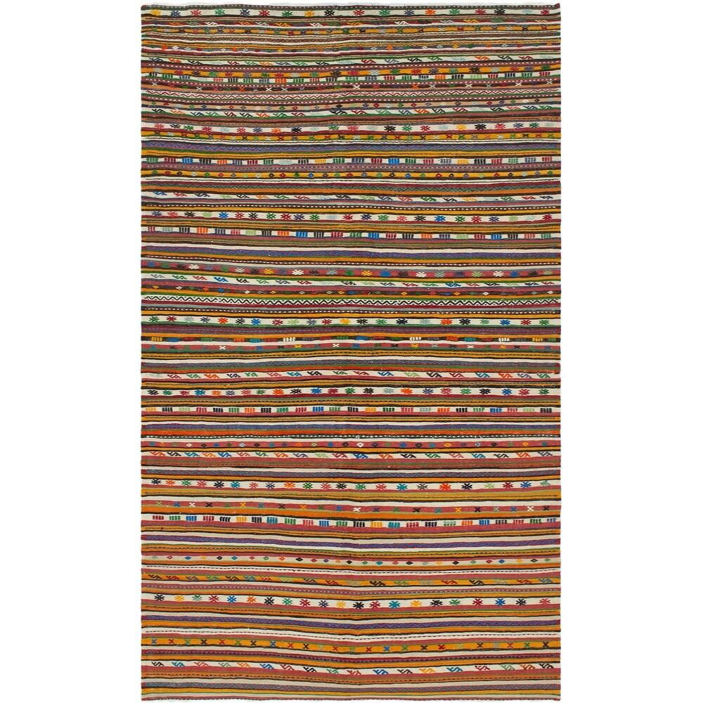 ECARPETGALLERY Flat-weave Bohemian Cream, Red Wool Kilim - 5'8 x 10'6 (Cream/ Red - 5'8 x 10'6)