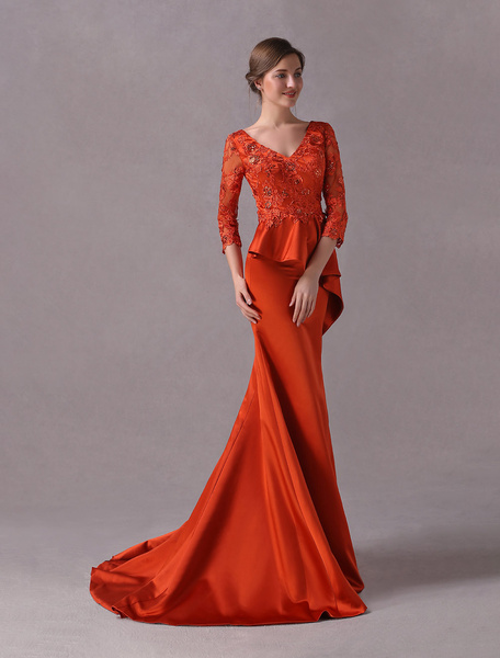 Milanoo Mother Of The Bride Dresses Peplum Ruffles Lace Applique Satin Beaded Mermaid Formal Evening Dress With Train