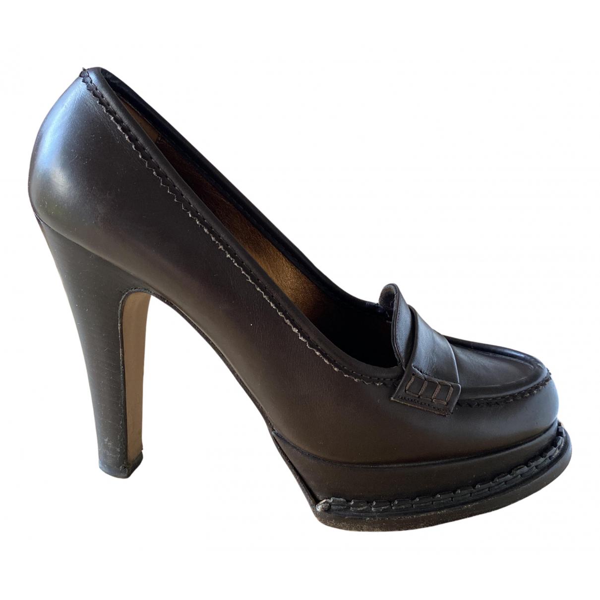 Yves Saint Laurent N Brown Leather Heels for Women 39.5 EU