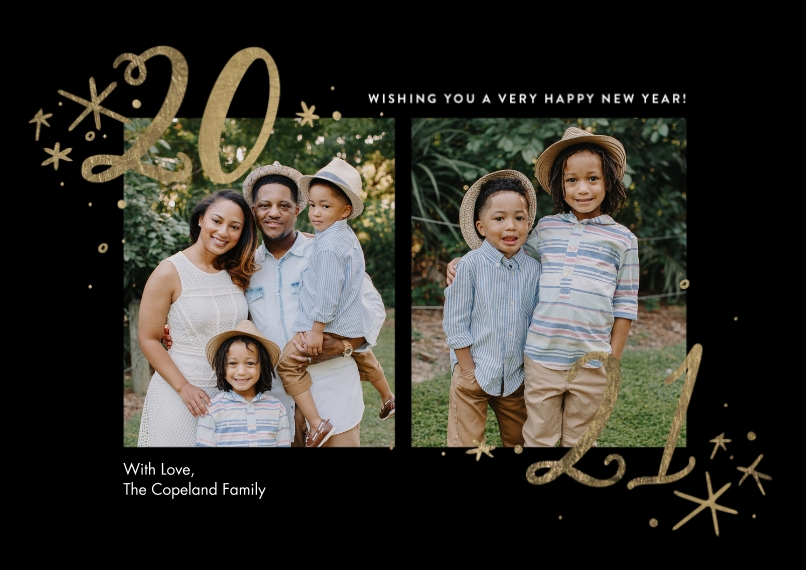 New Years Photo Cards Flat Matte Photo Paper Cards with Envelopes, 5x7, Card & Stationery -2021 Stars by Tumbalina
