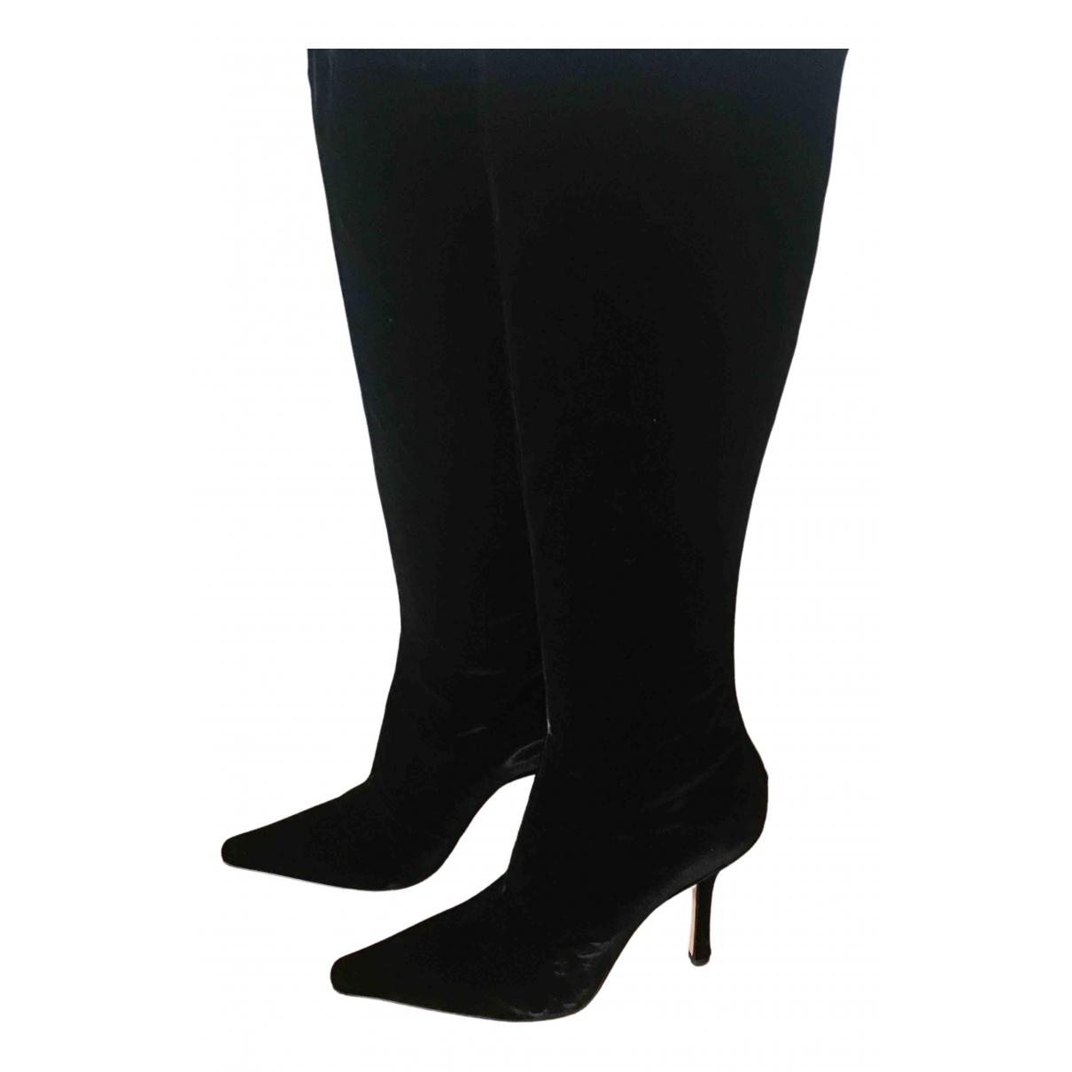 Jimmy Choo - Bottes   pour femme en velours - noir