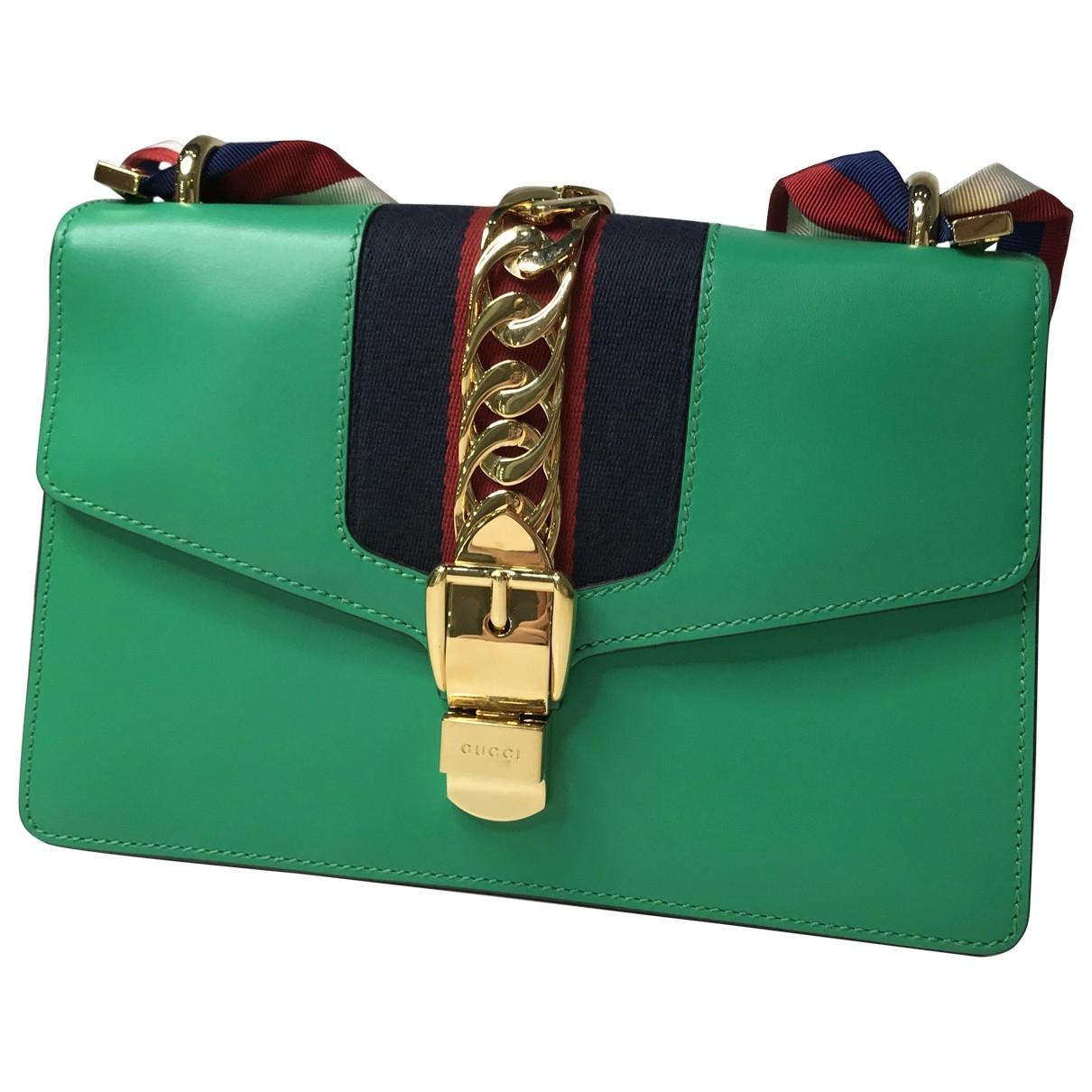 Gucci - Sac a main Sylvie pour femme en cuir - vert