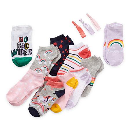 Arizona Big Girls 10 Pair Low Cut Socks, Small , Blue