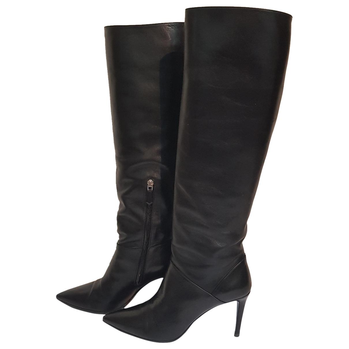 Prada \N Black Leather Boots for Women 38.5 EU