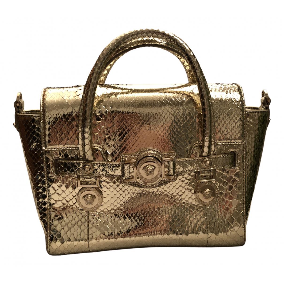Versace - Sac a main Palazzo Empire pour femme en lezard - dore