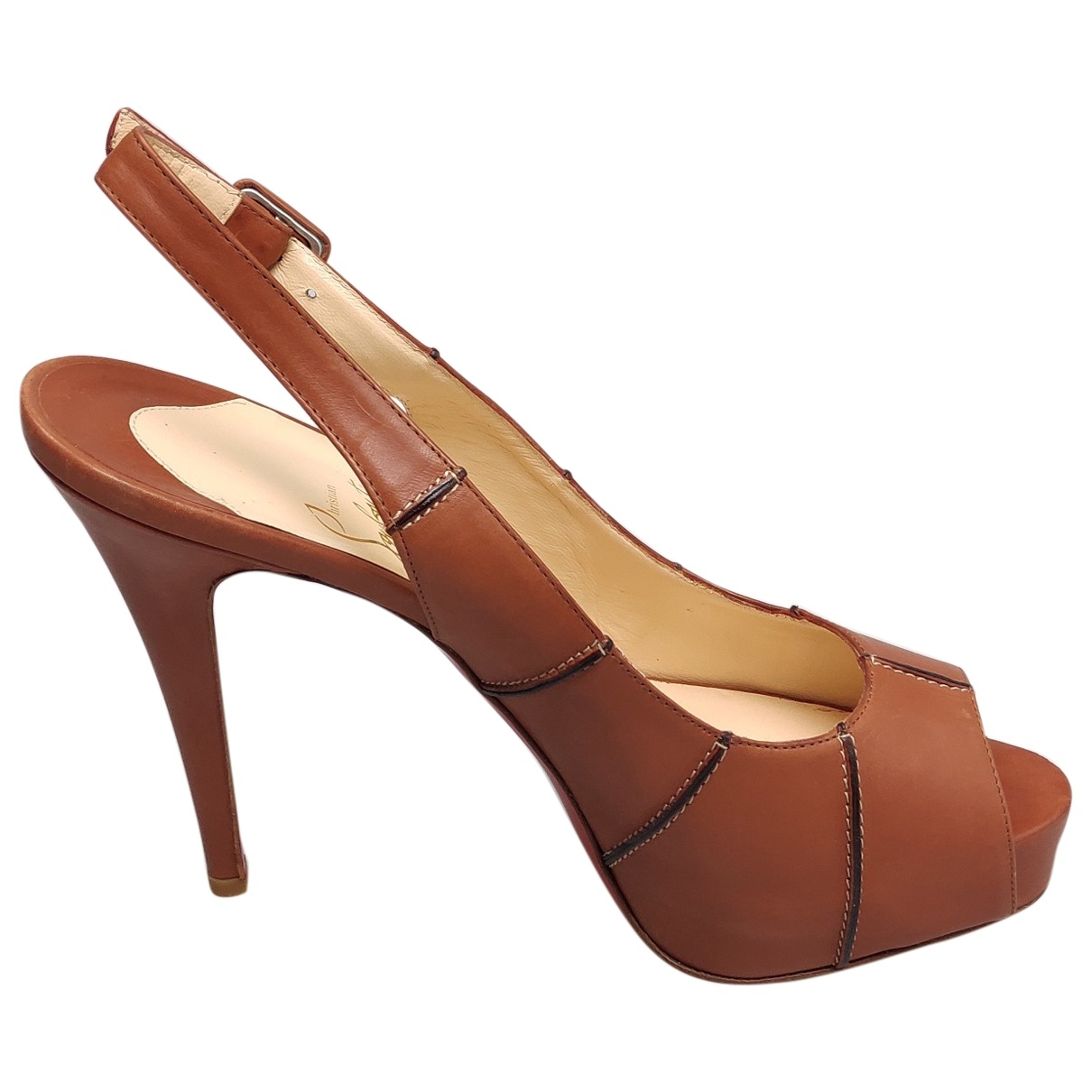 Christian Louboutin Private Number Camel Leather Heels for Women 40.5 EU