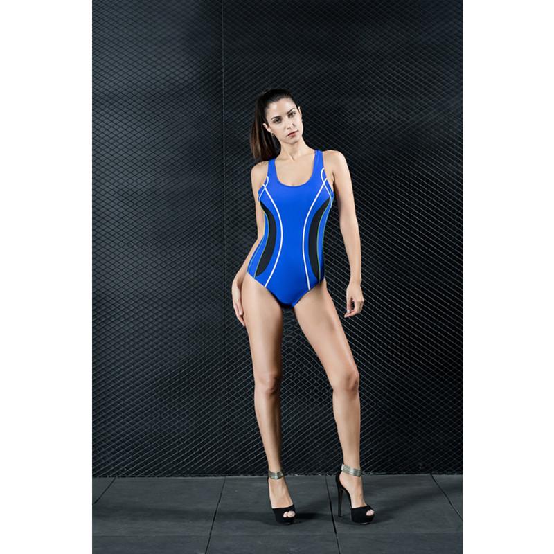 One Piece Tummy Control Modest All Seasons Blue Women's Swimwear