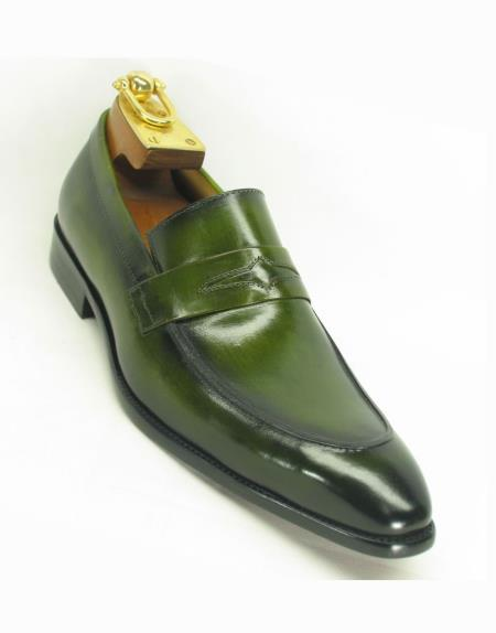 Mens Ombre Olive Loafer Slip On Style Two Toned Shoes