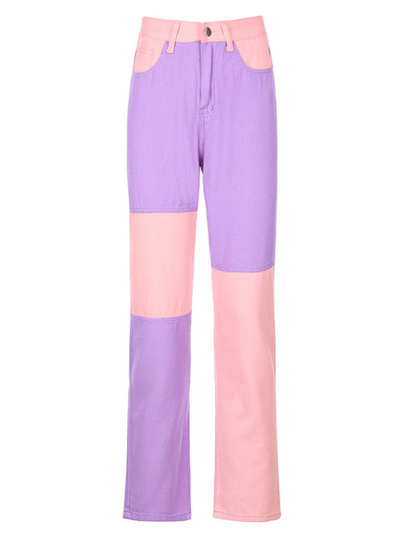 Milanoo Women\'s Pants Purple Polyester Trousers
