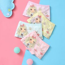 Toddler Girls 4pcs Cartoon And Floral Print Underwear