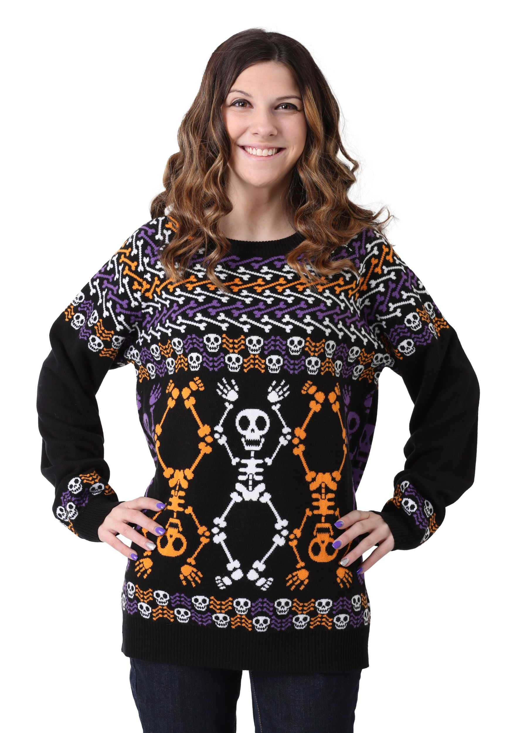 Day of the Dead Dancing Skeletons Ugly Halloween Sweater for Adults