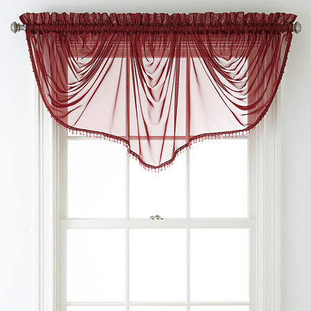 Home Expressions Lisette Sheer Imperial Beaded Valance, One Size , Red