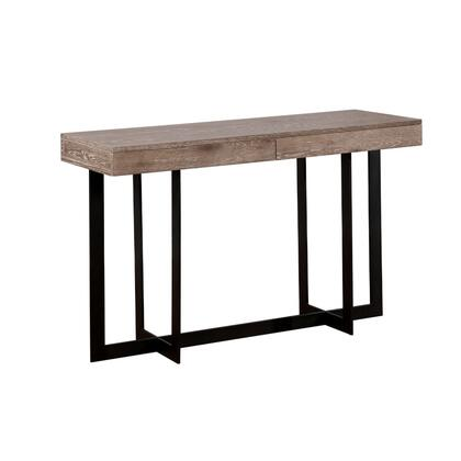BM187128 Industrial Style Solid Wood Sofa Table with Two Drawers and Metal Base  Brown and