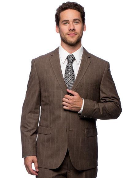 Caravelli Mens 2 Button Slim Fit Brown Plaid Notch Lapel Vested Suit