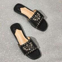 Sandalen mit Edelstein Dekor