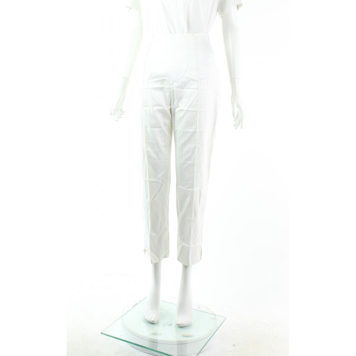 Pantalon en Algodon Blanco Fendi