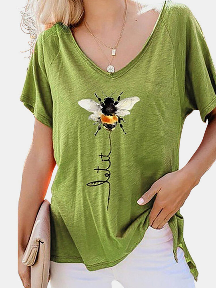 Bee Letter Print Short Sleeve V-neck Casual T-shirt For Women