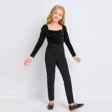 Girls Gigot Sleeve Ruched Detail Velvet Bodice Jumpsuit