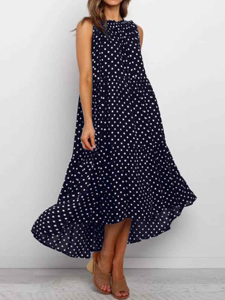Polka Dot Print Irregular Sleeveless Plus Size Dress