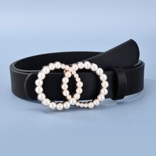 Faux Pearl Decor O-ring Buckle Belt