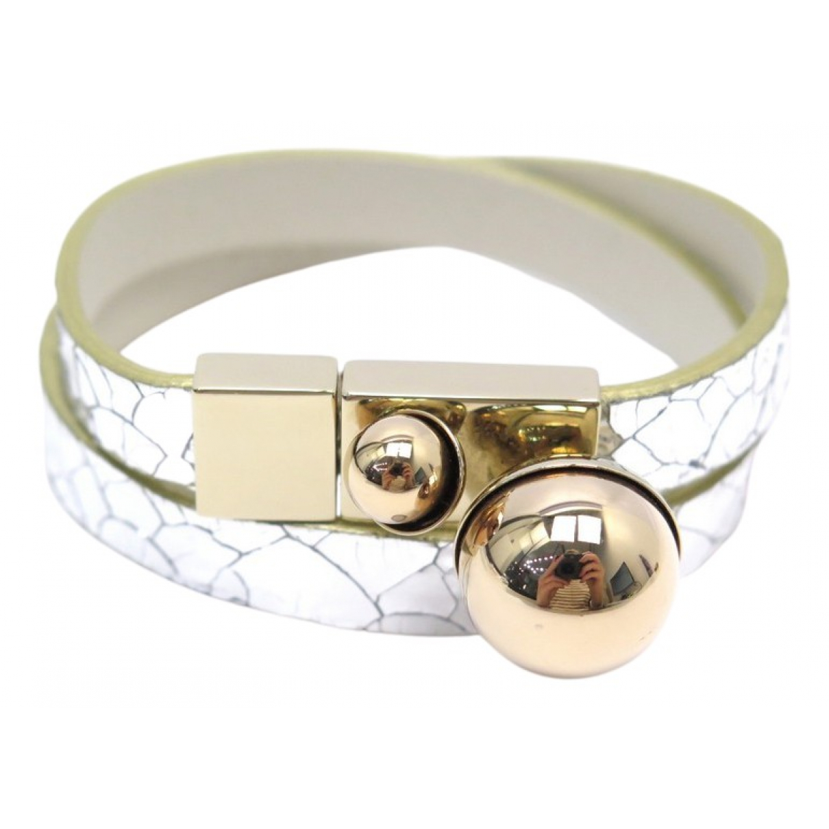 Dior Tribal Silver Leather bracelet for Women N