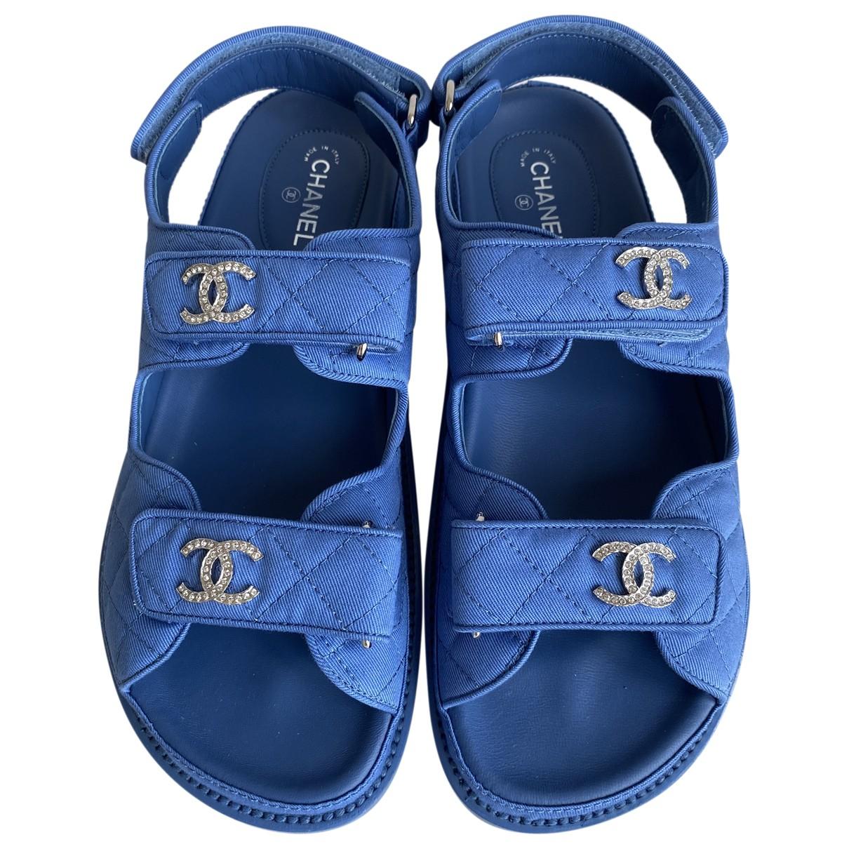 Chanel Dad Sandals Sandalen in  Blau Leinen